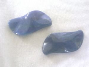 ~ TWO LAPIS LAZULI 32mmX16mm WAVY  FOCAL/PENDANT  BEADS  ~F240d