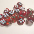 15 RED & BLUE GLASS  BEADS   MULTI SIZED    LOT ~A19