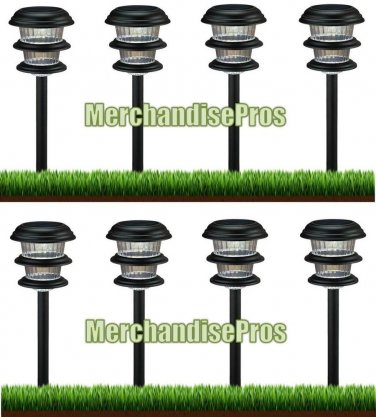 6x bright white metal led solar pathway landscape path lights 8 ct. Black Bedroom Furniture Sets. Home Design Ideas