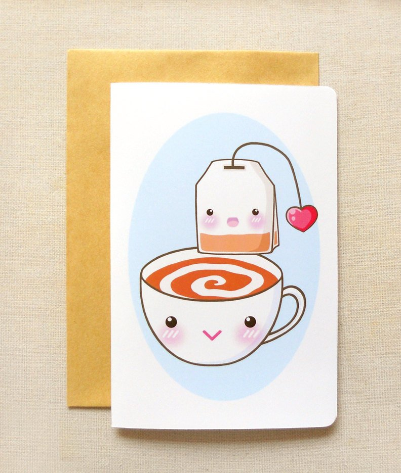 """Afternoon Tea Time 4""""x6'' Inch Greeting Card -Tea Party Invitation Notecard Stationery"""