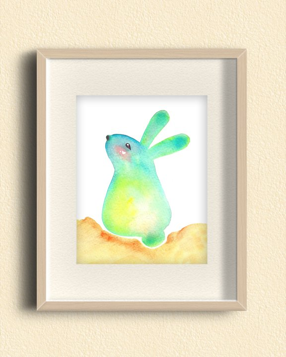 Blue Bunny Rabbit Illustration Print- Cute Animal Wall Art, Children's Nursery Room Art