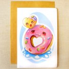 "Cute Donut & Donut Hole Friends 4x6"" Inch Greeting Card, BFF Notecard, Valentine's Day Card"