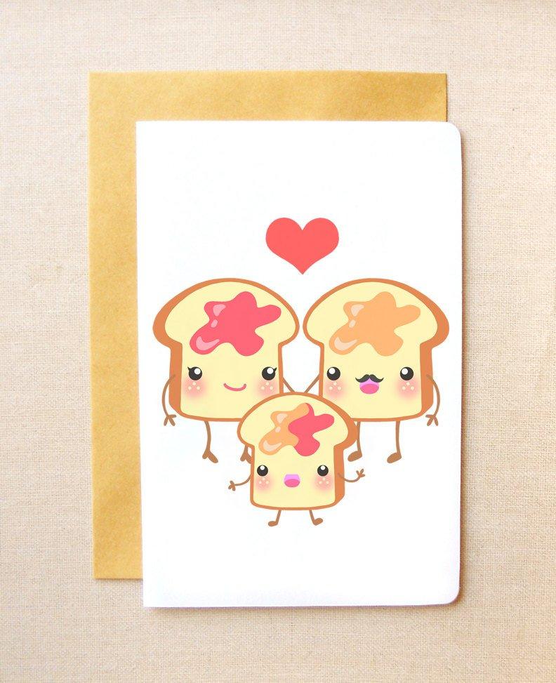 Kawaii Toast Family 4x6'' Greeting Card - Congratulations Card, New Baby Card, Cute Invitations