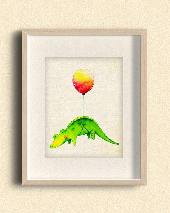 Baby Alligator with Red Balloon Illustration Print- Cute Animal Art, Children's Nursery Room Art