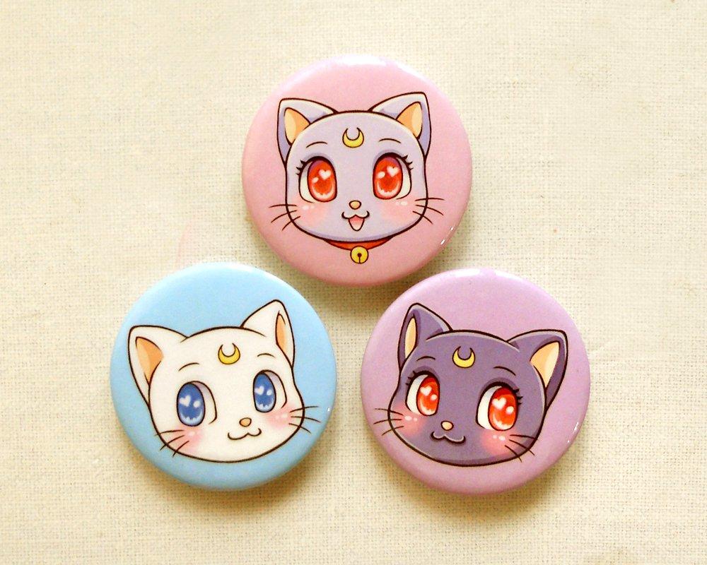 """Sailor Moon Cats 1.75"""" Pinback Button Set of 3: Anime Luna, Artemis, Diana Pin Set"""