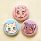 "Sailor Moon Cats 1.75"" Pinback Button Set of 3: Anime Luna, Artemis, Diana Pin Set"