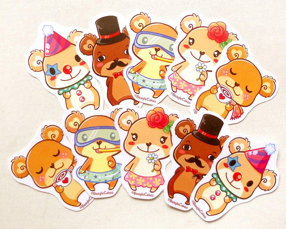 Cute Bear Sticker Pack of 10: Kawaii Illustrated Teddy Bear Stickers, Planner Stickers