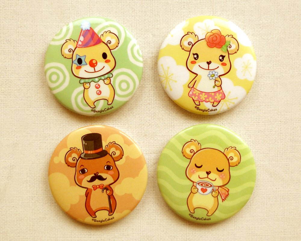 "Cute Teddy Bears 2.25"" Magnet Set: Kawaii Bears Fridge Magnet Set of 4"