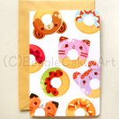 Kawaii Colorful Donuts 4x6'' Greeting Card - Kawaii Colorful Animal Doughnuts Birthday Card