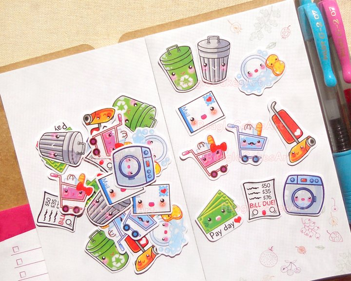 Housework Planner Stickers: Cute Daily Chores Sticker Pack, Erin Condren Planner Stickers