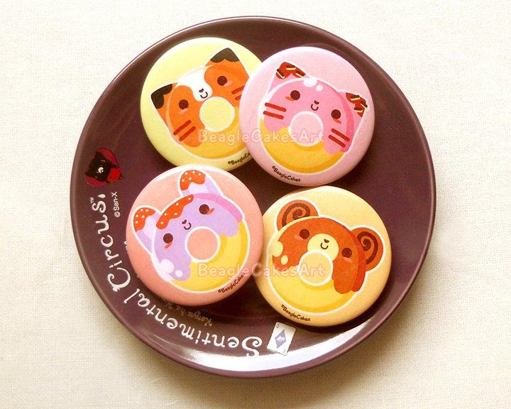 "Donut Pinback Buttons, 1.75"" Pins, Woodland Pins, Stocking Stuffers, Animal Brooch, Cat Pin"