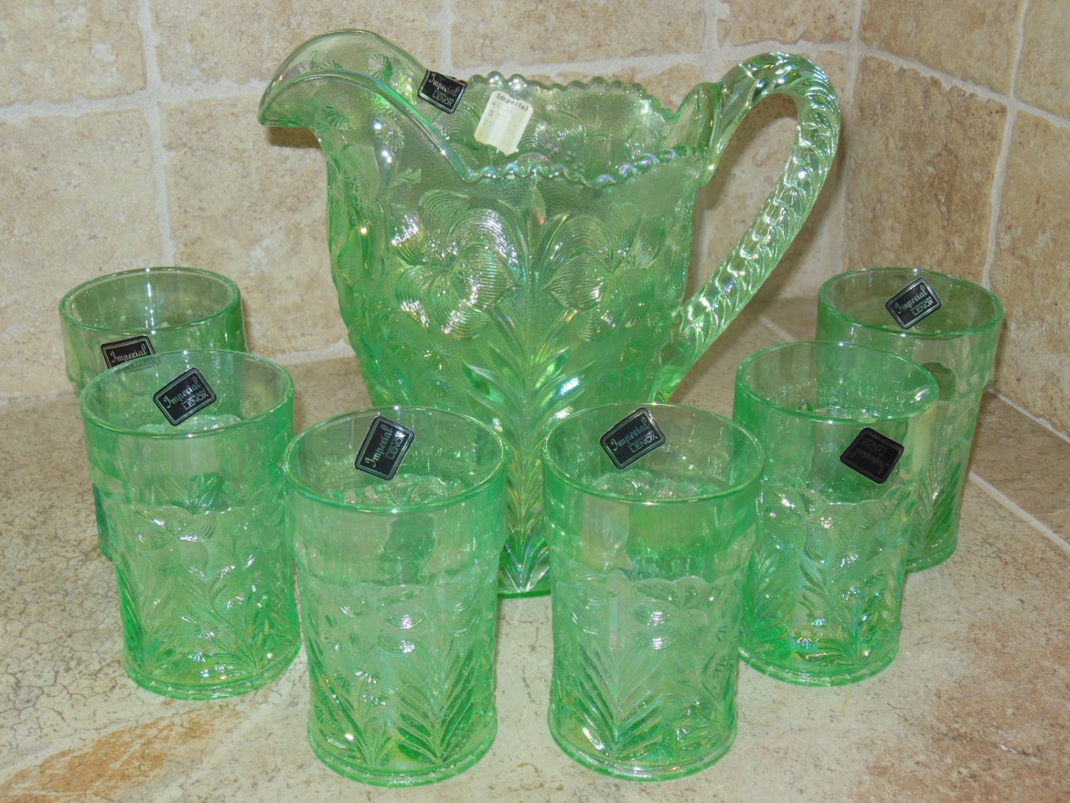 Imperial Lenox Meadow Green Tiger Lily Carnival Glass Water Set NOS