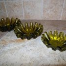 Vintage Hand-Made Art Green Glass Ashtray Set. Great to make candle holders from