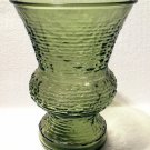 "Vintage Napco Serano Pattern Glass 8"" Vase in Olive Green"