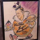 "Vintage 1948 Vertreese Super Hamburger ""Fit for a King"" Hand Painted Drawn Pic"