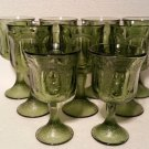 Vintage Green Depression Glass Goblet Set of 9