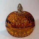 Vintage Indiana Glass Co. Amber Mt. Vernon Candy Box w/ Acorn Finial