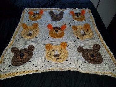 Lion, tiger, and bear kids blanket