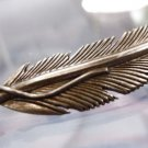 VINTAGE sterling 925 silver 1.75 INCH NAVAJO FEATHER BROOCH signed H. MACE