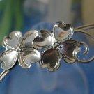 BROOCH / PIN: sterling 925 silver vintage vtg BEAU 2 double Dogwood Blossom