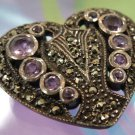 sterling 925 silver VINTAGE marcasite AND amethyst HEART SHAPE BROOCH - PERFECT