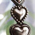 retired TRIPLE HEART BROOCH sterling 925 silver signed by SUE B (SUSAN BARKANN)