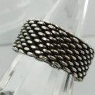 RING sz 7.5 sterling 925 silver MESH : DESIGNER INSPIRED 8mm BAND