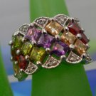 RING sz 6 sterling 925 silver MANY MULTI COLOR GEMSTONES filigree gallery