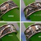 RING sz 7.5 sterling 925 MEXICO 4 ANIMAL BAND : RHINO GIRAFFE ELEPHANT HORSE