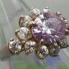 RING sz 6 signed sterling 925 PALE LILAC or LAVENDER & CZ FLASHY BLING