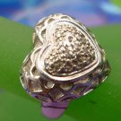 RING sz 6.5 sterling 925 HEART w/ 5 SMALL DIAMONDS - GALLERY - signed 'V'
