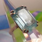 RING sz 7 sterling TALL EMERALD CUT PALE BLUE CZ STONE marked  * 651 VI (ITALY)