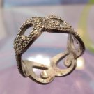 RING sz 6 sterling * MUST SEE *  MARCASITE AND STERLING swirls BAND signed A925