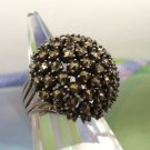 RING sz 6.5 sterling 925 silver PRONG SET MARCASITE DOME .. PERFECTION !!