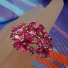 RING sz 7 sterling 925 silver PINK & RED FLOWERS signed