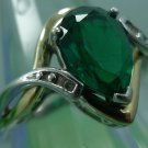 RING sz 7.25 925 SILVER / 10K GOLD signed MARQUISE EMERALD & 2 SMALL DIAMONDS