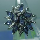 RING sz 7 sterling 925 silver TANZANITE ? AND RHINESTONE COCKTAIL CLUSTER