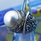 RING sz 6.5  BOLD and CHUNKY sterling 925 silver PEARL w/ GALLERY by NF