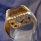 RING sz 7.5  sterling silver CITRINE SIGNED w/ HEART CUT OUT HEARTS SETTING