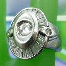 RING sz 7  STERLING 925 SILVER vintage CHUNKY RHINESTONE RING