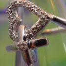 PROMISE RING sz 6.25 sterling 925 silver w/ DIAMONDS / HEART with a KISS
