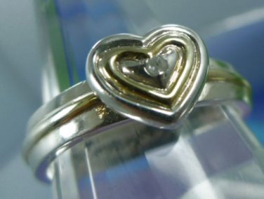 "RING sz 10 sterling some GOLD & DIAMOND IN HEART ENGRAVED ""MY DAUGHTER MY LOVE"""