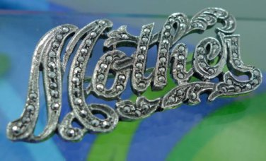 """vintage sterling 925 silver and MARCASITE """" MOTHER """" BROOCH / PIN : A GREAT GIFT"""