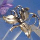 BROOCH : signed 925S C Denmark sterling vintage vtg FLOWER FLORAL