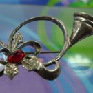 """HOLIDAY """"HOLLY"""" ON HUNT TRUMPET FRENCH HORN BROOCH sterling 925 BY JEZ"""