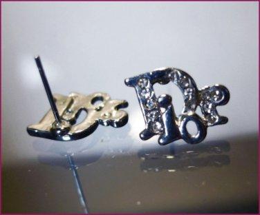 PIERCED POST LOGO STUD earrings : RHINESTONE designer BLING