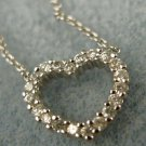 """HEART PENDANT 16"""" NECKLACE: 21 CZ sterling 925 silver inside & outside COIN EDGE"""