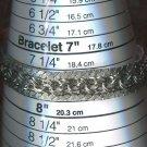 "Wide Sterling Silver 7.75"" CHARM BRACELET"