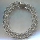 "TWISTED LINK STERLING SILVER 7"" x 10mm CHARM BRACELET - HOOKS FOR SAFETY CHAIN"