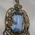 vintage STERLING GERMANY FILIGREE baby blue STONE & MARCASITE PENDANT and CHAIN